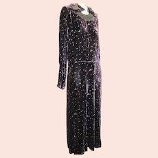 Antique 1920s Silk Velvet Dress Art Deco