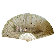 Antique Hand Fan 1860-70 Hand Painted
