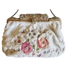 Antique Purse Clutch Tambour Glass Beads Jeweled Frame