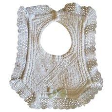 Vintage Baby's Bib White Work & Lace