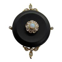 Antique Victorian Rose Cut Diamonds Opal Pearls Onxy Pendant