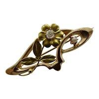 Antique Art Nouveau 14K Gold Diamond Pearl Brooch