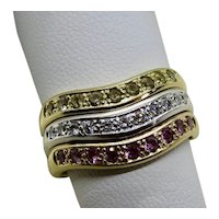 18K Gold Diamonds Pink & Yellow Sapphires Lady's Ring