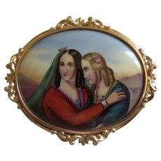 Antique Mourning Cameo 14K H/Painted