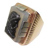 1940s 14K Gold Men's Ring Sardonyx Cameo