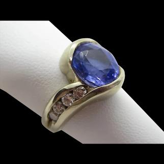 Tanzanite Ring Lady's 6 Ct With Diamonds 14K White Gold