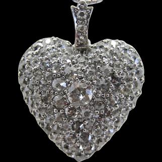 Antique Heart Pendant Diamonds Old Mine Cut