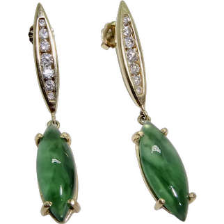 Jadeite 14K Diamonds Earrings Dangles