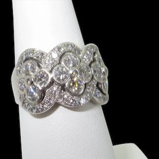 14K Diamond Ring Quatrefoil Clusters Band