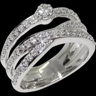 Vintage 14K White Gold Diamond Ring Cross-Over