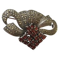 Elegant Marcasite & Red Stone Pin Brooch