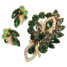 Stunning EISENBERG ICE Green, Gray & Clear Rhinestone Pin & Earrings Set