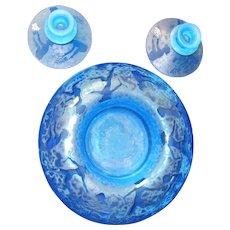 RARE Fostoria Blue Glass CUPID Console Bowl & Matching Candlesticks