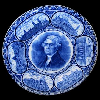 Vintage Thomas Jefferson Souvenir Plate - St. Louis World's Fair