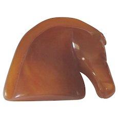 Nice Vintage Butterscotch Bakelite Horse Pin