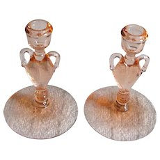 RARE Pair Heisey Swan Candlesticks Candle Holders - Flamingo Color