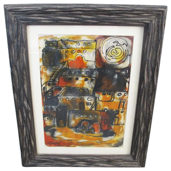 Helenn Rumpel - Fiber Art Watercolor of Adobes - New Mexico Artist