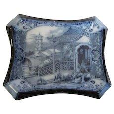"c. 1900 Flow Blue Burleigh Ware Tea Tile Stand ""The Geisha"""