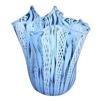 Vintage Murano Latticino Handkerchief Vase - Light Blue & White