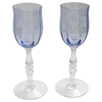 """Gorgeous Rare Cordial / Claret """"Fontaine"""" Pattern by Tiffin Glass - Twilight Blue Color (Amethyst)"""