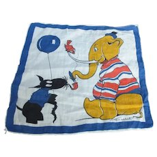 Vintage Tom Lamb Handkerchief - Cartoon Elephant & Dog