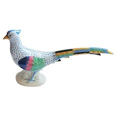 "Fab Herend Blue Fishnet Pheasant - 12-1/2"""