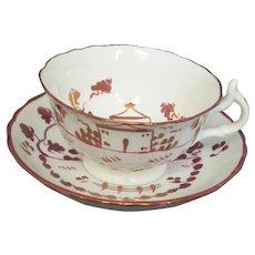 Vintage Pink Luster Lustre Cup & Saucer - House Motif