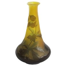 """Authentic Emile Galle Cameo Art Glass Vase - 4-1/4"""" - NO CHIPS!"""