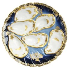 Late 1800s Haviland & Co. Cobalt & Gold Oyster Plate w/ 6 Wells