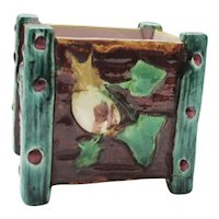 FAB 19th C. Majolica Small Jardiniere Pot w/ Snail & Butterfly - Royal Worcester