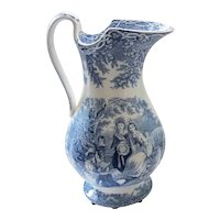 """19th C. Blue & White Transferware Pitcher """"May Morn"""" - J. & M.P. Bell & Co."""