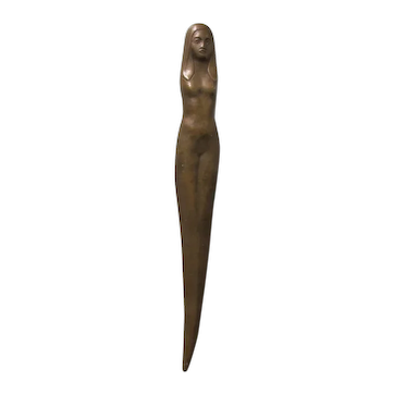 Vintage Striking Bronze Nude Woman Letter Opener