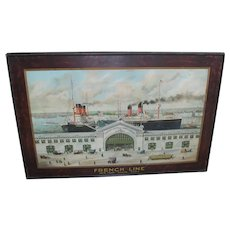 FAB c. 1905 Advertising Litho on Tin - French Line SS Provance & SS Savoie Ships at Pier 57 - New York City