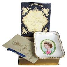 Coronation of H.M. Queen Elizabeth II Pin Tray w/ Orig. Box & Booklet - Royal Crown Derby