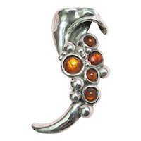 Signed Varsano .925 Sterling Pin w/ Amber Color Stones