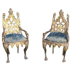 Wonderful 19th C Metal Miniature Pair Gothic Style Chairs w/  Upholstery