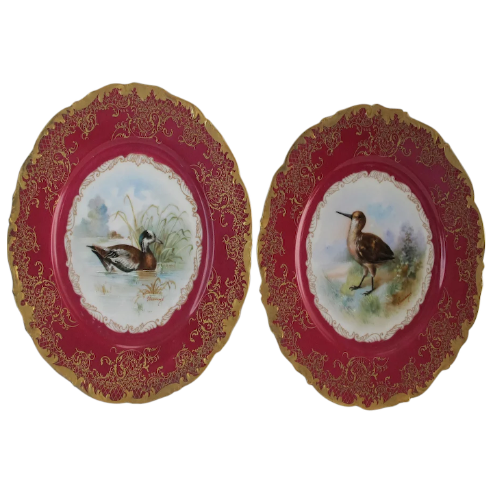 Lovely Vintage Hand-Painted Fowl Plates (2) - T&V Limoges - Signed