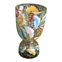 c. late 19th C. Moser Glass Egg Cup w/ Colorful Enamel Leaves