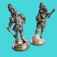 Vintage Meriden Silver Plate Swordsmen Figures (2)