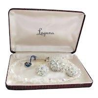 Vintage Laguna Parure Set - Crystal Necklace & Earrings w/ Original Tag & Box