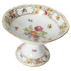 """Schumann """"Empress"""" Dresden Flowers Footed Dish"""