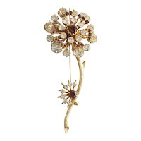Pretty Vintage White & Brown Rhinestone Flower Pin