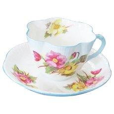 Shelley England Fine Bone China Teacup & Saucer - Begonia Dainty Fluted