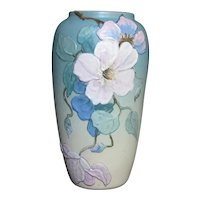 1930s Weller Hudson Vase w/ Flowers  - Signed Morris