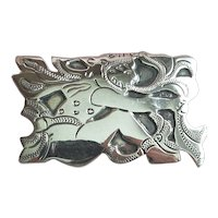 Neat Guatemala Sterling Silver Pin - Man Breathing Fire - Signed R&M
