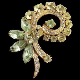 Eisenberg Ice Pin Brooch - Lt. Green, Yellow & Clear Rhinestones in Gold Tone