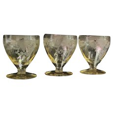 "Heisey Sahara ""Old Colony"" Oyster Cocktail Glasses (3)"