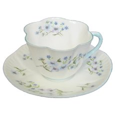 "Shelley - England - ""Blue Rock"" Pattern Cup & Saucer"