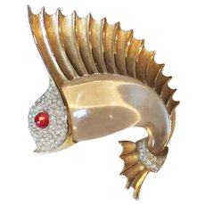 Vintage Trifari Jelly Belly Sailfish Pin - Rhinestones & Lucite
