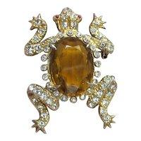 Fun Vintage Rhinestone Frog pin w/ Large Amber Faux Stone